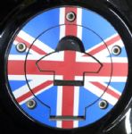 "TRIUMPH Petrol/Gas Cap. Aluminium Tank Decal ""Union Jack"" (5 Screw)"